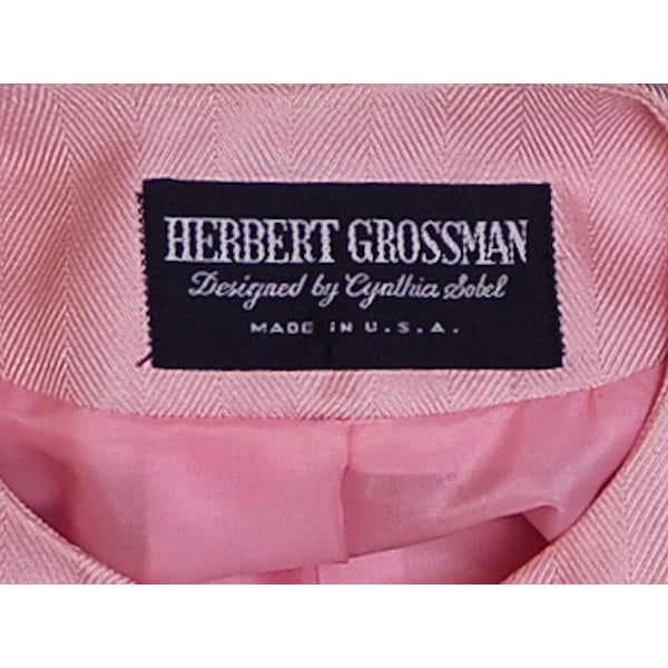 Vintage 1980s Ladies Suit Pink Silk Herbert Grossman Sz 8 - The Best Vintage Clothing  - 3