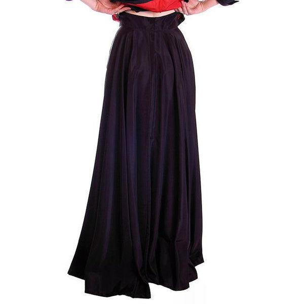 "Vintage Circle Skirt Black Taffeta High Waist Evening Full  Small 25"" W 1940S - The Best Vintage Clothing  - 2"