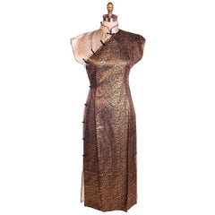 Vintage 1950s Metallic Cheongsam Copper Brown Damask Dress  34-28-37 - The Best Vintage Clothing  - 1