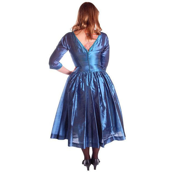 Vintage Electric Blue Silk Cocktail Dress Gown Johnny Herbert 1950s 34-28-Free - The Best Vintage Clothing  - 3
