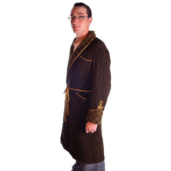 Mens Vintage Black/Green Plaid Wool Robe Jaeger 1940S 46 Chest - The Best Vintage Clothing  - 3
