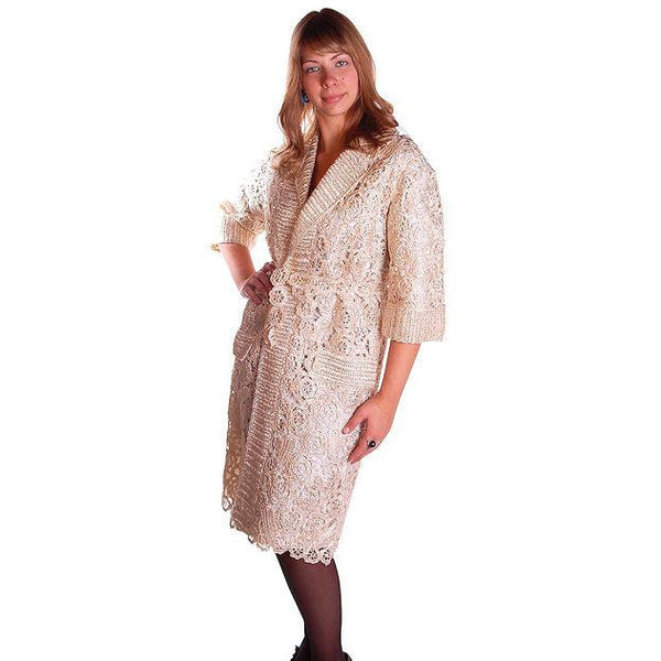 Vintage Italian Crocheted Straw Coat 1950S Cream Color Unique M-L Paoli - The Best Vintage Clothing  - 2