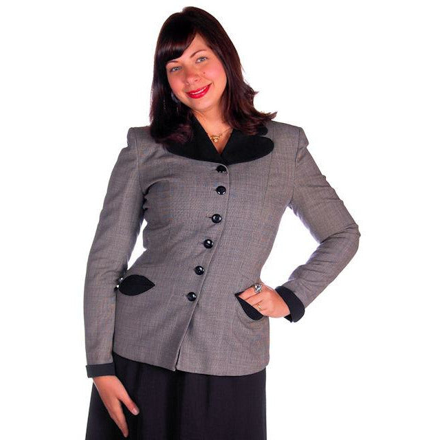 Vintage Ladies Navy/Gray Gotham Blazer Suit Jacket Gotham 1940s Med-Large 38-30 - The Best Vintage Clothing  - 1