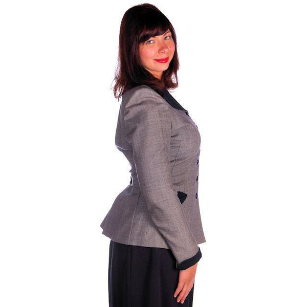 Vintage Ladies Navy/Gray Gotham Blazer Suit Jacket Gotham 1940s Med-Large 38-30 - The Best Vintage Clothing  - 2