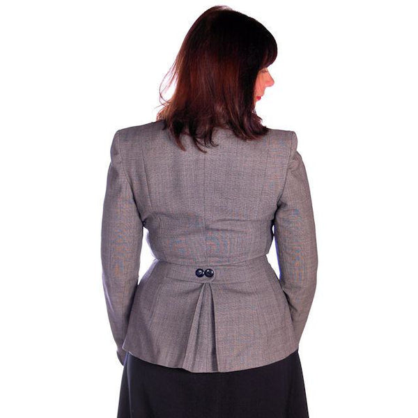 Vintage Ladies Navy/Gray Gotham Blazer Suit Jacket Gotham 1940s Med-Large 38-30 - The Best Vintage Clothing  - 3