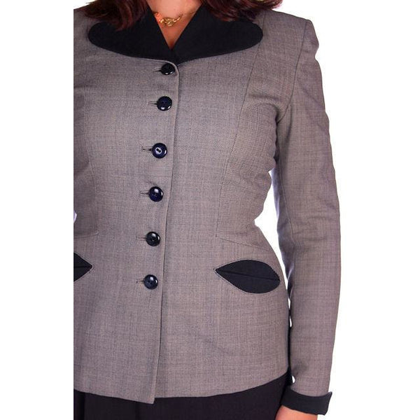 Vintage Ladies Navy/Gray Gotham Blazer Suit Jacket Gotham 1940s Med-Large 38-30 - The Best Vintage Clothing  - 4