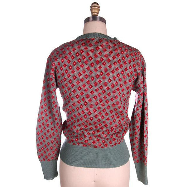 Vintage McGregor Patterned Wool Ski Sweater 1940s RARE Med Red/Gray - The Best Vintage Clothing  - 3