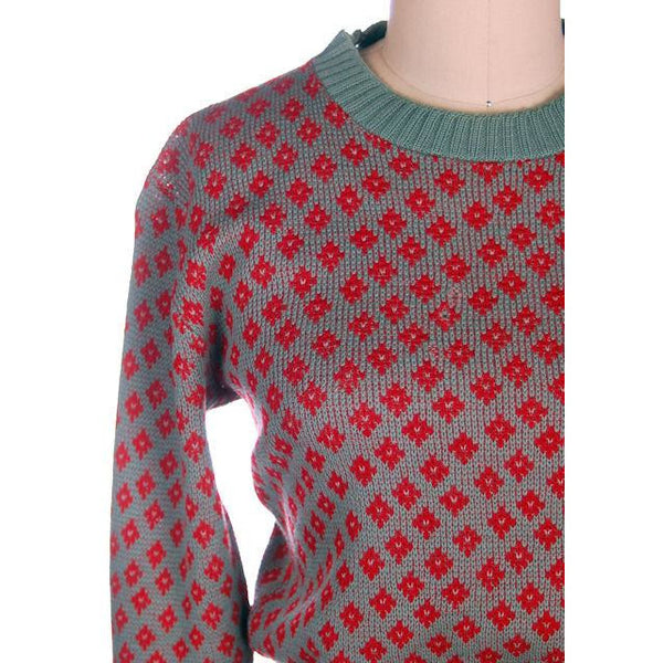 Vintage McGregor Patterned Wool Ski Sweater 1940s RARE Med Red/Gray - The Best Vintage Clothing  - 4