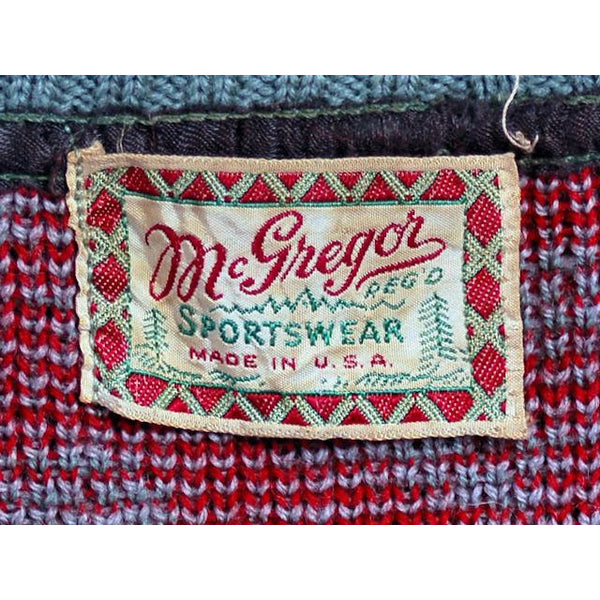 Vintage McGregor Patterned Wool Ski Sweater 1940s RARE Med Red/Gray - The Best Vintage Clothing  - 6