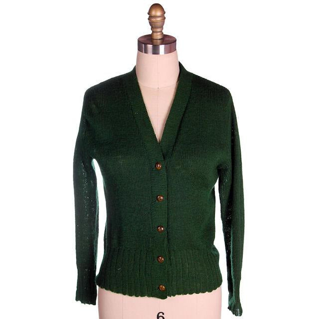 "Vintage Cardigan Sweater  Wool Knit Green 1940s 4"" Ribbed Waistband Distressed M - The Best Vintage Clothing  - 1"