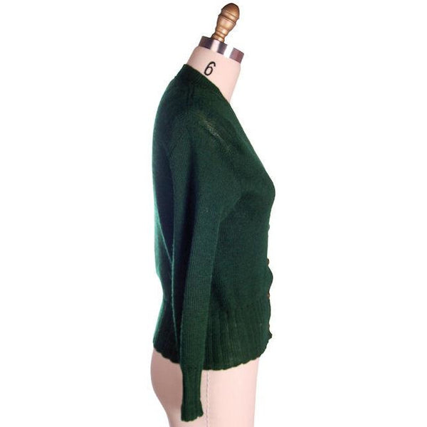 "Vintage Cardigan Sweater  Wool Knit Green 1940s 4"" Ribbed Waistband Distressed M - The Best Vintage Clothing  - 2"
