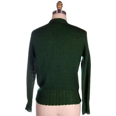 "Vintage Cardigan Sweater  Wool Knit Green 1940s 4"" Ribbed Waistband Distressed M - The Best Vintage Clothing  - 3"