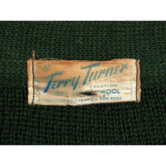 "Vintage Cardigan Sweater  Wool Knit Green 1940s 4"" Ribbed Waistband Distressed M - The Best Vintage Clothing  - 5"