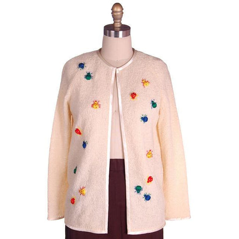 Vintage Cardigan Sweater w/ Cute Embroidered Lady Bugs all Over Size M 1960s