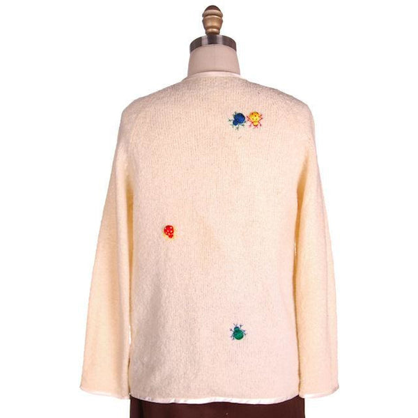 Vintage Cardigan Sweater w/ Cute Embroidered Lady Bugs all Over Size M 1960s - The Best Vintage Clothing  - 3