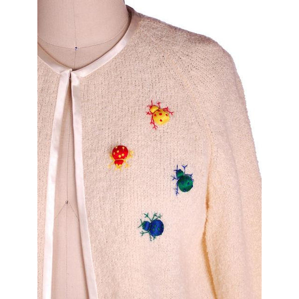 Vintage Cardigan Sweater w/ Cute Embroidered Lady Bugs all Over Size M 1960s - The Best Vintage Clothing  - 4