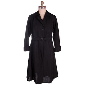 Vintage Ladies Coat Edwardian-Early 1920s Black Serge Wool 44-40-50 - The Best Vintage Clothing  - 1