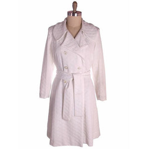 Vintage Textured White Poly Knit Trench Coat 1970s 44-42-52 - The Best Vintage Clothing  - 1