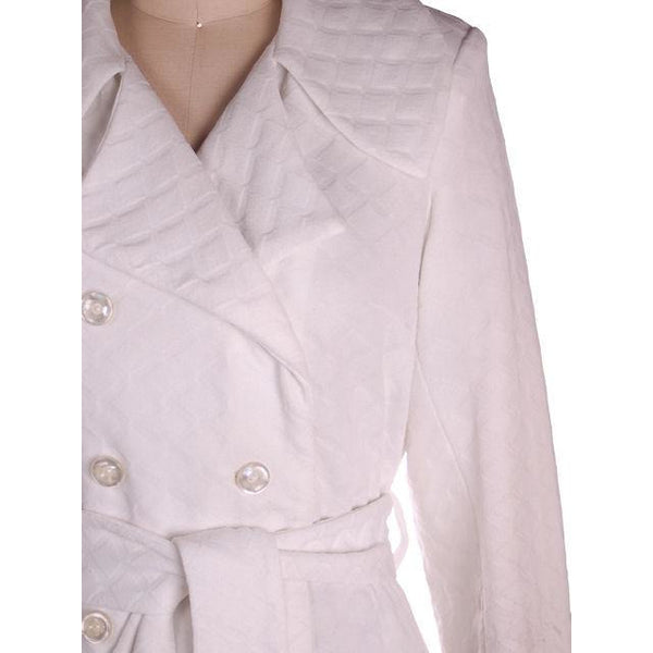 Vintage Textured White Poly Knit Trench Coat 1970s 44-42-52 - The Best Vintage Clothing  - 5