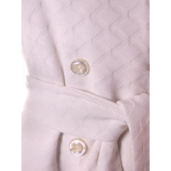 Vintage Textured White Poly Knit Trench Coat 1970s 44-42-52 - The Best Vintage Clothing  - 6