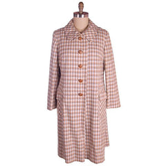 Vintage Ladies Spring Coat Late 1960s Plaid Gray Peach Flattering 44-44-48 - The Best Vintage Clothing  - 1
