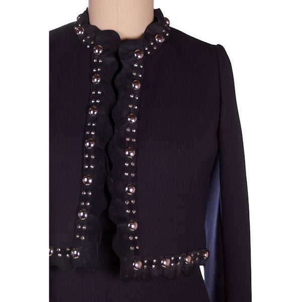 Vintage Designer Navy Wool Dress / Jacket Leather / Steel Studded 1970s 38-32-41 - The Best Vintage Clothing  - 7