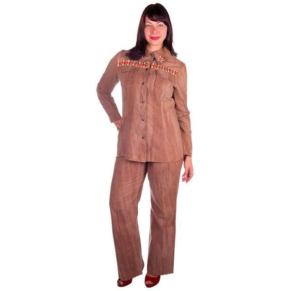 Vintage Brown Chambray Pant Suit Embellished Holy 1970s Batman 40-30-40 - The Best Vintage Clothing  - 1