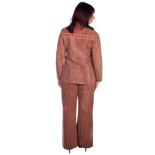 Vintage Brown Chambray Pant Suit Embellished Holy 1970s Batman 40-30-40 - The Best Vintage Clothing  - 3
