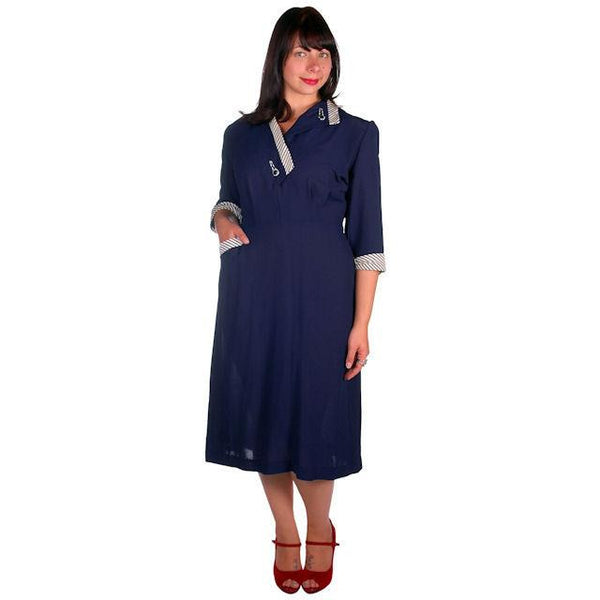 Vintage Navy Rayon Day Dress Striped Cuffs/Collar 1940s Rite Fit 44-35-46 - The Best Vintage Clothing  - 1