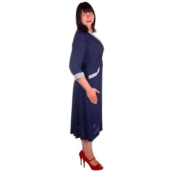 Vintage Navy Rayon Day Dress Striped Cuffs/Collar 1940s Rite Fit 44-35-46 - The Best Vintage Clothing  - 2