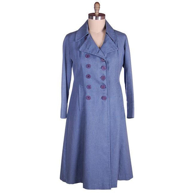 Vintage Blue Chambray Trench Coat Bright Red Lining 1970s 38-36-44 - The Best Vintage Clothing  - 1