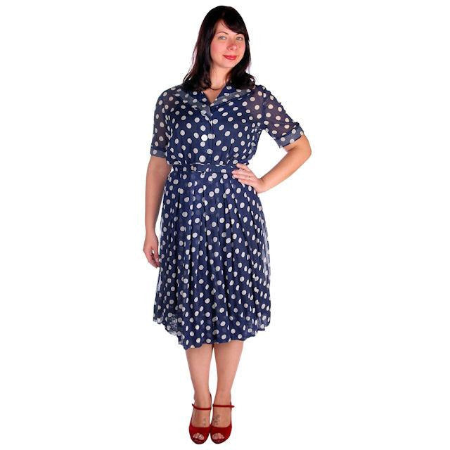 Vintage Navy Day Dress Polka Dot Cotton Nelly Don 1940s 42-32-Free - The Best Vintage Clothing  - 1