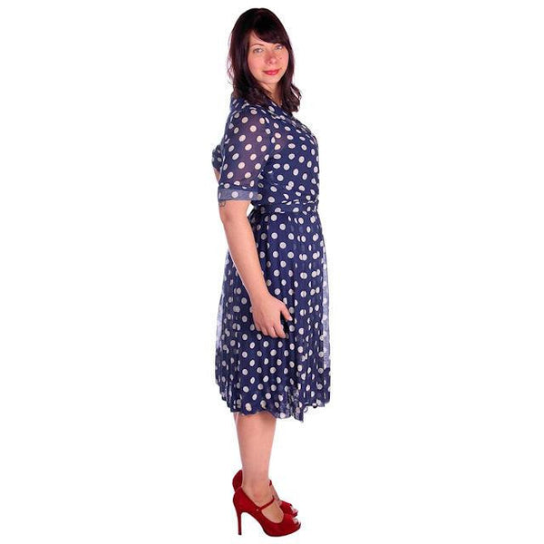 Vintage Navy Day Dress Polka Dot Cotton Nelly Don 1940s 42-32-Free - The Best Vintage Clothing  - 2