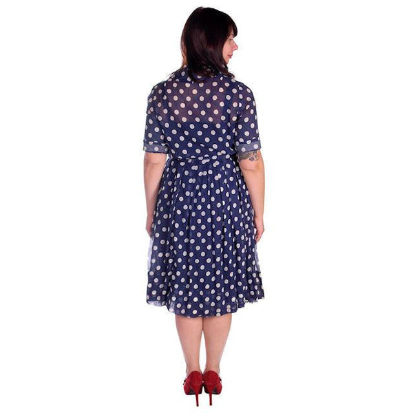 Vintage Navy Day Dress Polka Dot Cotton Nelly Don 1940s 42-32-Free - The Best Vintage Clothing  - 3