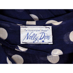 Vintage Navy Day Dress Polka Dot Cotton Nelly Don 1940s 42-32-Free - The Best Vintage Clothing  - 4