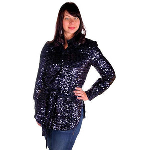 Vintage Purple/Blue Sequins Coat Saks Fifth Ave NOS 1970s Size 8 - The Best Vintage Clothing  - 1
