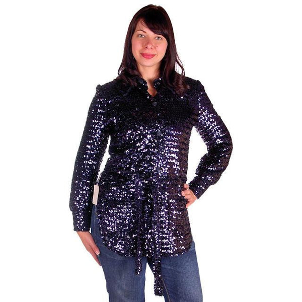 Vintage Purple/Blue Sequins Coat Saks Fifth Ave NOS 1970s Size 8 - The Best Vintage Clothing  - 2