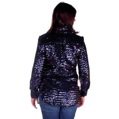 Vintage Purple/Blue Sequins Coat Saks Fifth Ave NOS 1970s Size 8 - The Best Vintage Clothing  - 3