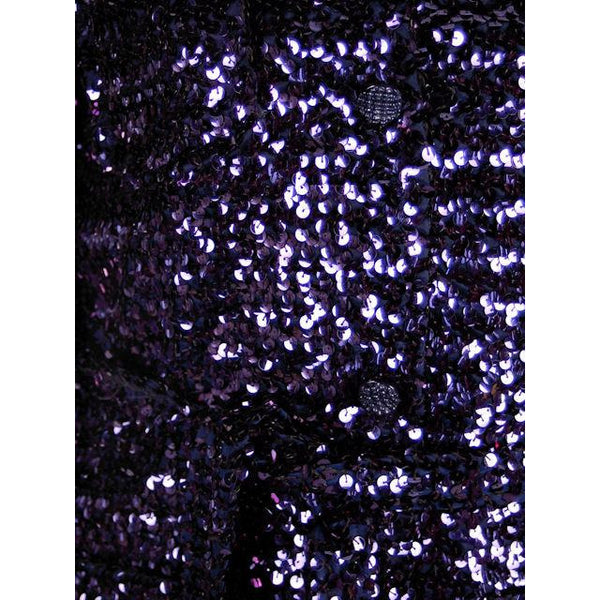 Vintage Purple/Blue Sequins Coat Saks Fifth Ave NOS 1970s Size 8 - The Best Vintage Clothing  - 4