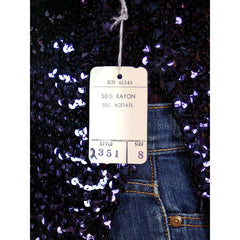 Vintage Purple/Blue Sequins Coat Saks Fifth Ave NOS 1970s Size 8 - The Best Vintage Clothing  - 5