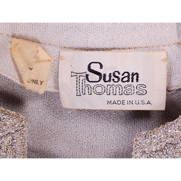 Vintage Silver Metallic Pant Suit 1980s Susan Thomas 36-27-41 - The Best Vintage Clothing  - 5