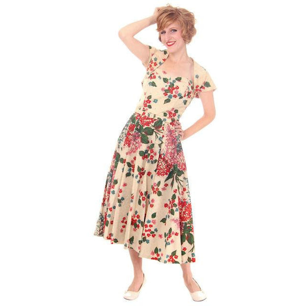 Vintage Strapless Dress Polished Printed Cotton Rhinestone Bodice 1950s Small - The Best Vintage Clothing  - 2