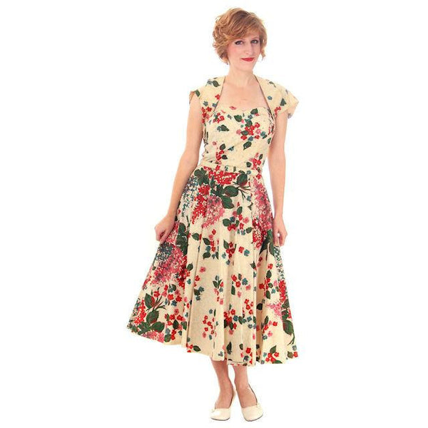 Vintage Strapless Dress Polished Printed Cotton Rhinestone Bodice 1950s Small - The Best Vintage Clothing  - 1
