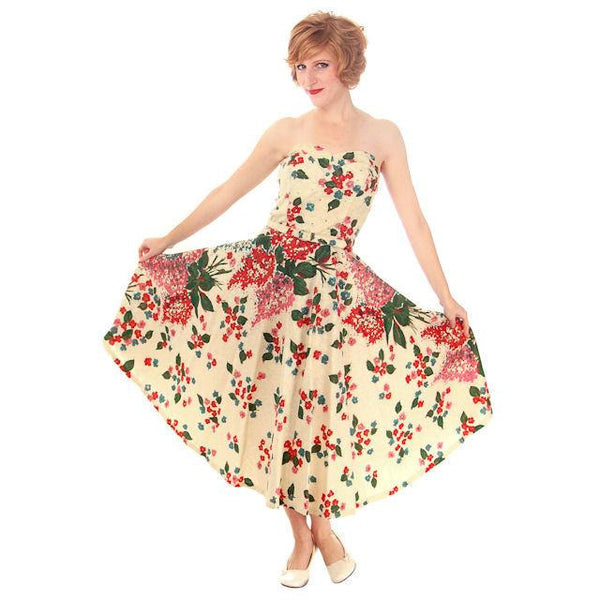 Vintage Strapless Dress Polished Printed Cotton Rhinestone Bodice 1950s Small - The Best Vintage Clothing  - 3
