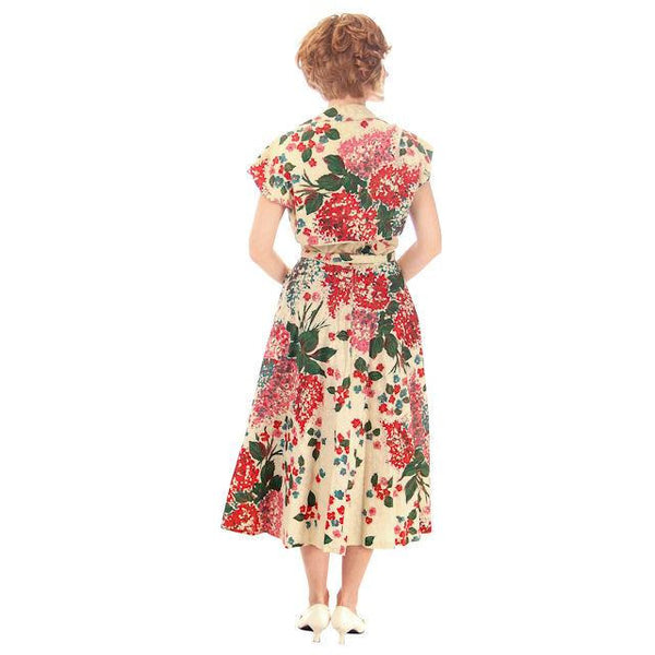 Vintage Strapless Dress Polished Printed Cotton Rhinestone Bodice 1950s Small - The Best Vintage Clothing  - 5