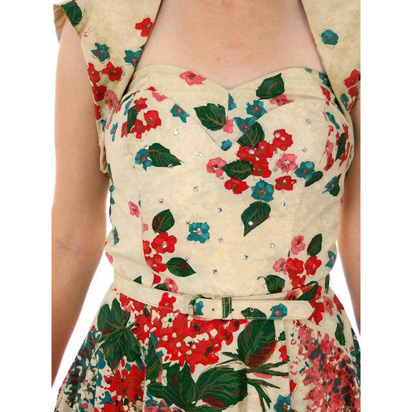 Vintage Strapless Dress Polished Printed Cotton Rhinestone Bodice 1950s Small - The Best Vintage Clothing  - 6