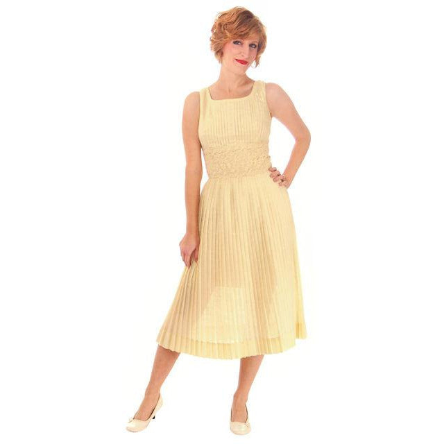 Vintage Day Dress Pale Yellow Crystal Pleated 1950s Small - The Best Vintage Clothing  - 1