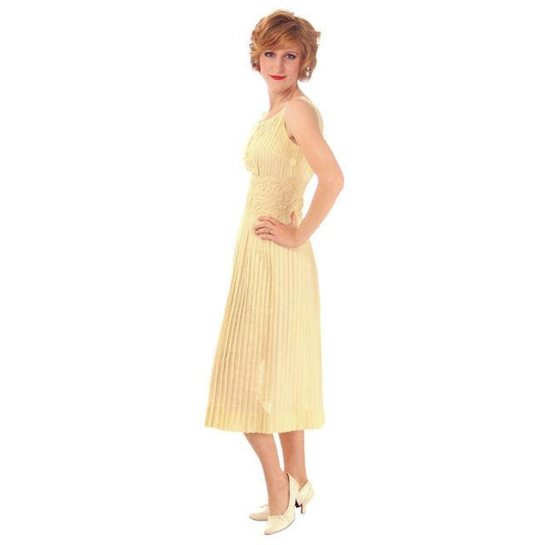 Vintage Day Dress Pale Yellow Crystal Pleated 1950s Small - The Best Vintage Clothing  - 2
