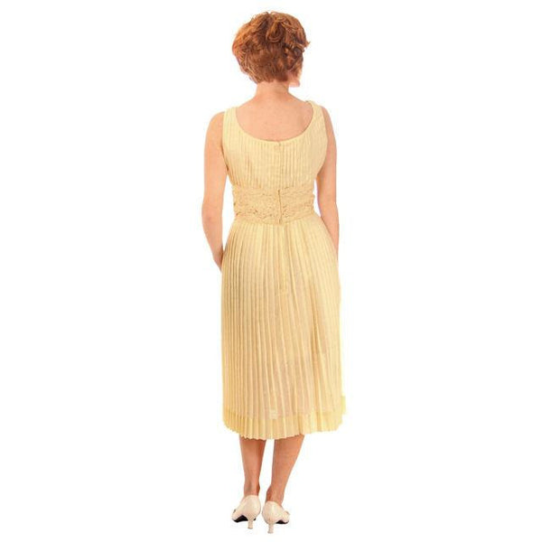 Vintage Day Dress Pale Yellow Crystal Pleated 1950s Small - The Best Vintage Clothing  - 3