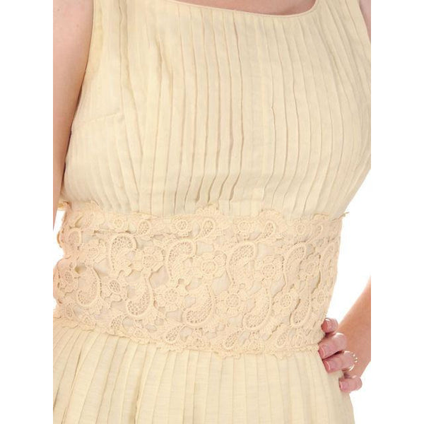Vintage Day Dress Pale Yellow Crystal Pleated 1950s Small - The Best Vintage Clothing  - 4